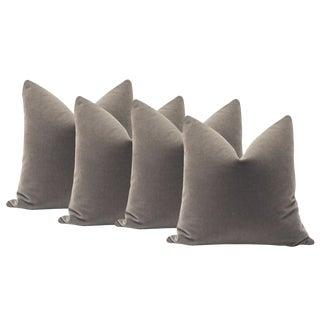 """22"""" Mohair Velvet Pillows in Gray - Set of 4"""