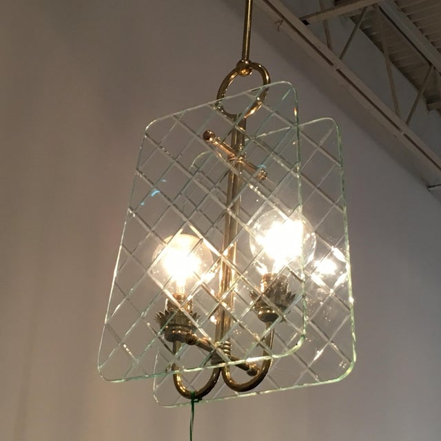 Cut Crystal and Brass Chandelier by Pietro Chiesa for Fontana Arte - Image 4 of 6
