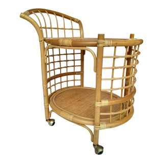 1970's Rattan 2-Tier Bar Cart with Swivel Casters