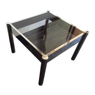 Chrome Smokey Glass Square End Table