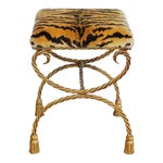 Italian Scalamandre Le Tiger Tasseled Gilt Bench Stool