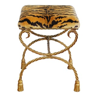 Italian Scalamandre Le Tiger Tasseled Gilt Bench Stool