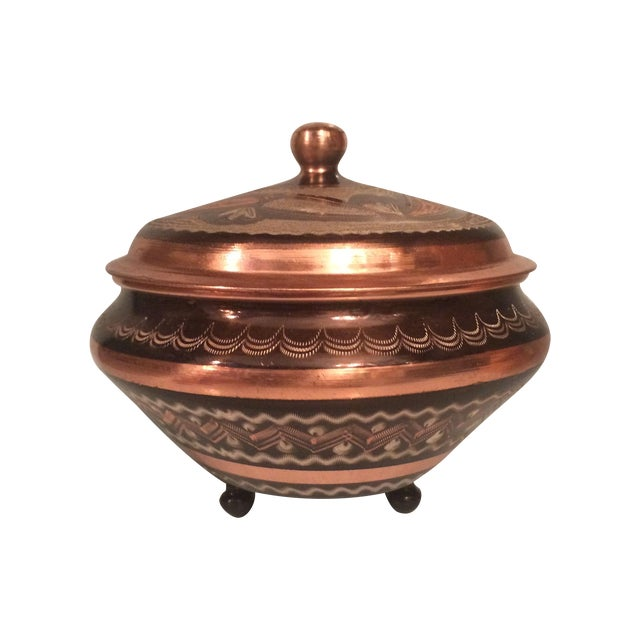 Image of Copper Etched Trinket Dish With Lid