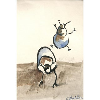 "Martha Holden ""June Bugs"" Original Watercolor & Ink Painting"