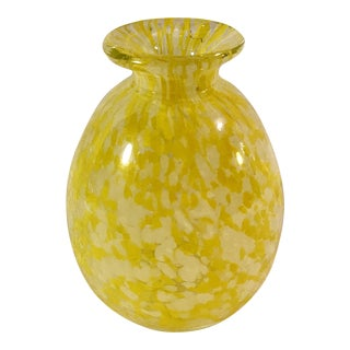 Mid-Century Yellow & White Art Glass Vase