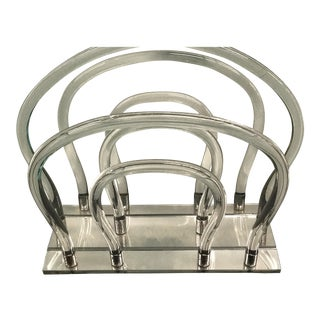 Dorthy Thorpe Lucite & Chrome Magazine Rack