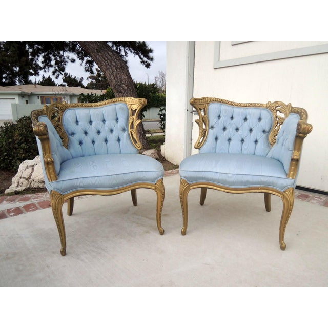 Image of French Provincial Tete A Tete Style Chairs - Pair