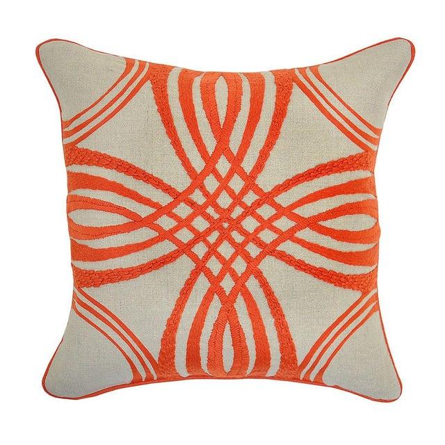 Orange & Beige Linen Pillow - Image 2 of 2