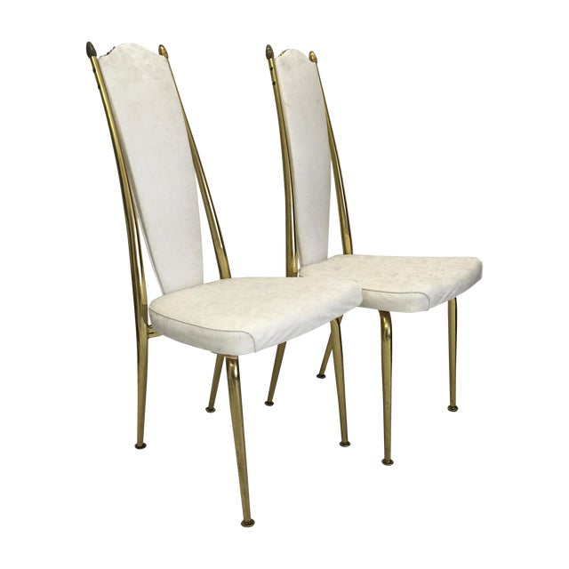 Image of Virtue White Vinyl & Brass Chairs - A Pair