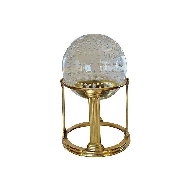 Glass Sphere on Brass Stand - Image 1 of 2