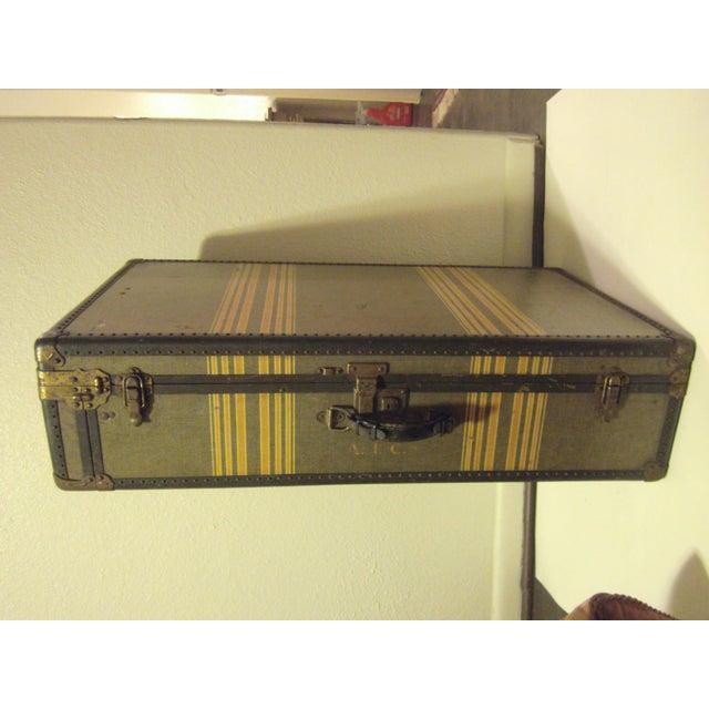 Vintage 1930s Petite Tweed Steamer Trunk - Image 2 of 10