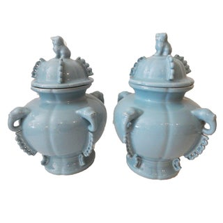 Blue Foo Dog Ginger Jars - A Pair