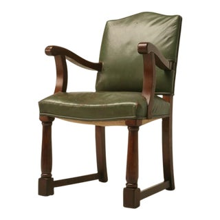 c.1920 English Oak Library Chair w/Arms