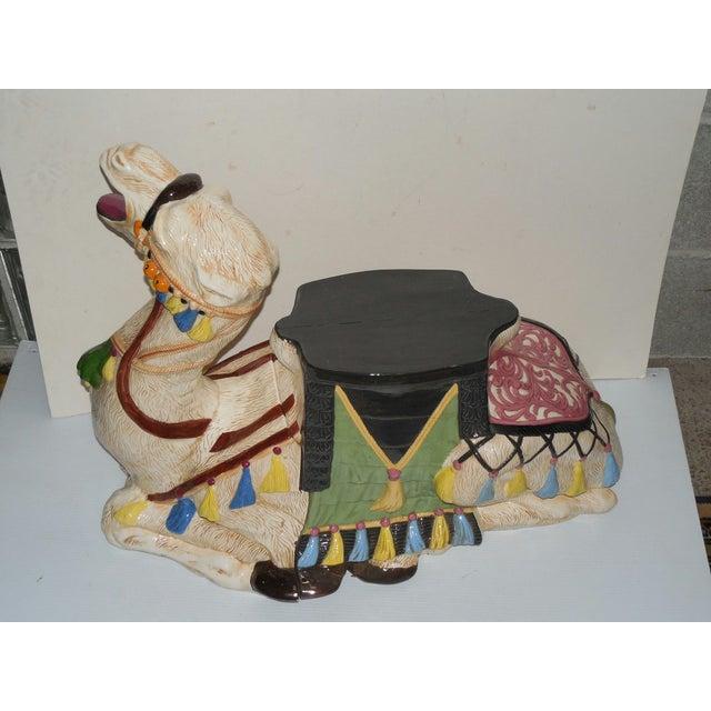 Image of Vintage 1970s Ceramic Camel Garden Stool