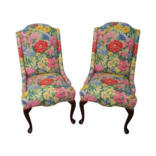 Pennsylvania House Queen Anne Floral Upholstered Host Chairs - Pair