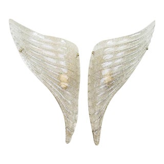 Barovier & Toso Italian Murano Glass Winged Wall Sconces - a Pair
