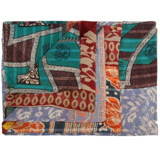 Vintage Red and Violet Kantha Quilt