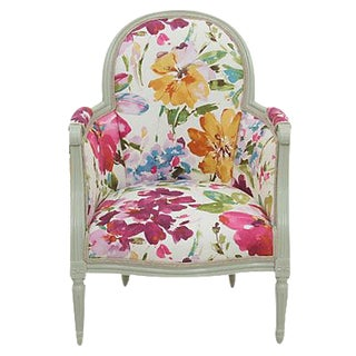 Antique Floral Bergere Chair