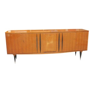 Long French Art Deco Flame Mahogany Sideboard / Buffet Circa 1940s