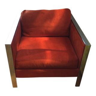 Milo Baughman Style Chrome & Red Chair