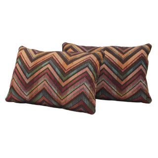 Jewel Toned, Custom Chevron Kidney Cushions- Pair