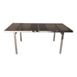 Milo Baughman Chrome & Glass Expanding Dining Table