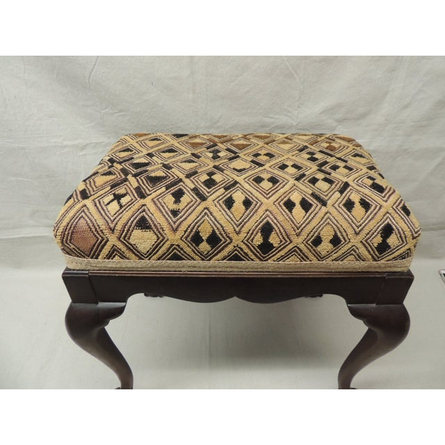 Antique African Textile Upholstered Bench - Image 3 of 5
