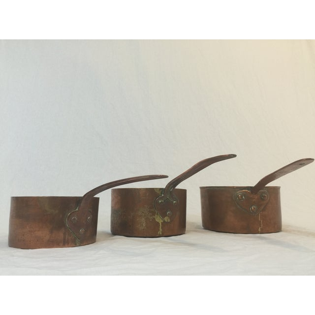 Antique Copper Pots with Dovetailing - Set of 3 - Image 3 of 10