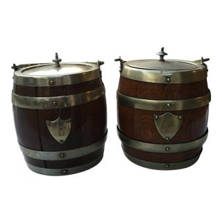 Antique English Oak Biscuit Jars - Pair