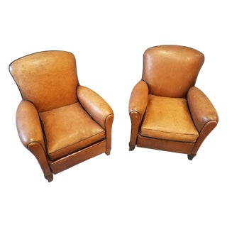 1920s French Leather Club Chairs - A Pair