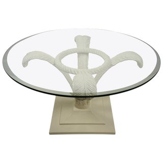 Hollywood Regency Style, Prince of Wales Plume Cocktail Table in White Lacquer: Grosfeld House