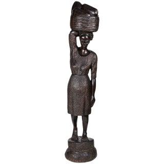 Haitian Folk Art Carved Wood Statue