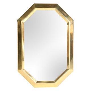 1970s Octagonal Brass Mirror