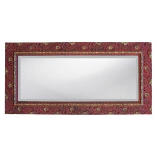 Aged Red Gold Carved Floral Wall Mirror