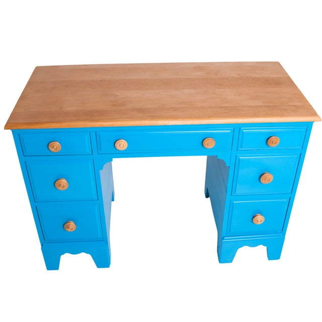 Vintage Painted Blue Maple Knee Hole Desk - Image 1 of 4
