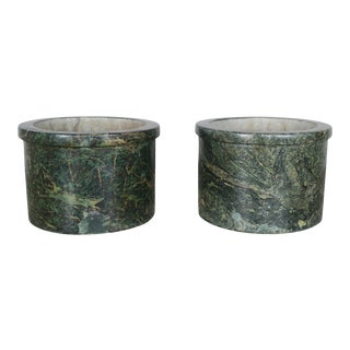 French Green Marble Cachepots - A Pair