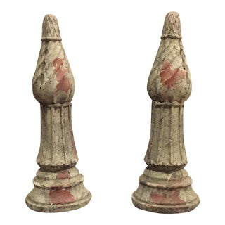 Pawn-Shape Green Clay Roof Finials - A Pair