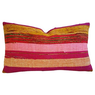 Custom Hand-Looped/Tufted Chindi Fabric Pillow
