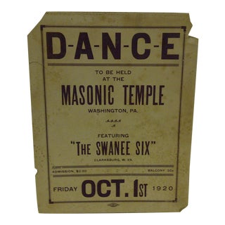 Vintage Dance Advertising Poster, Circa 1920