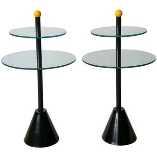 Postmodern Memphis Style Side Tables, Italy, 1980s