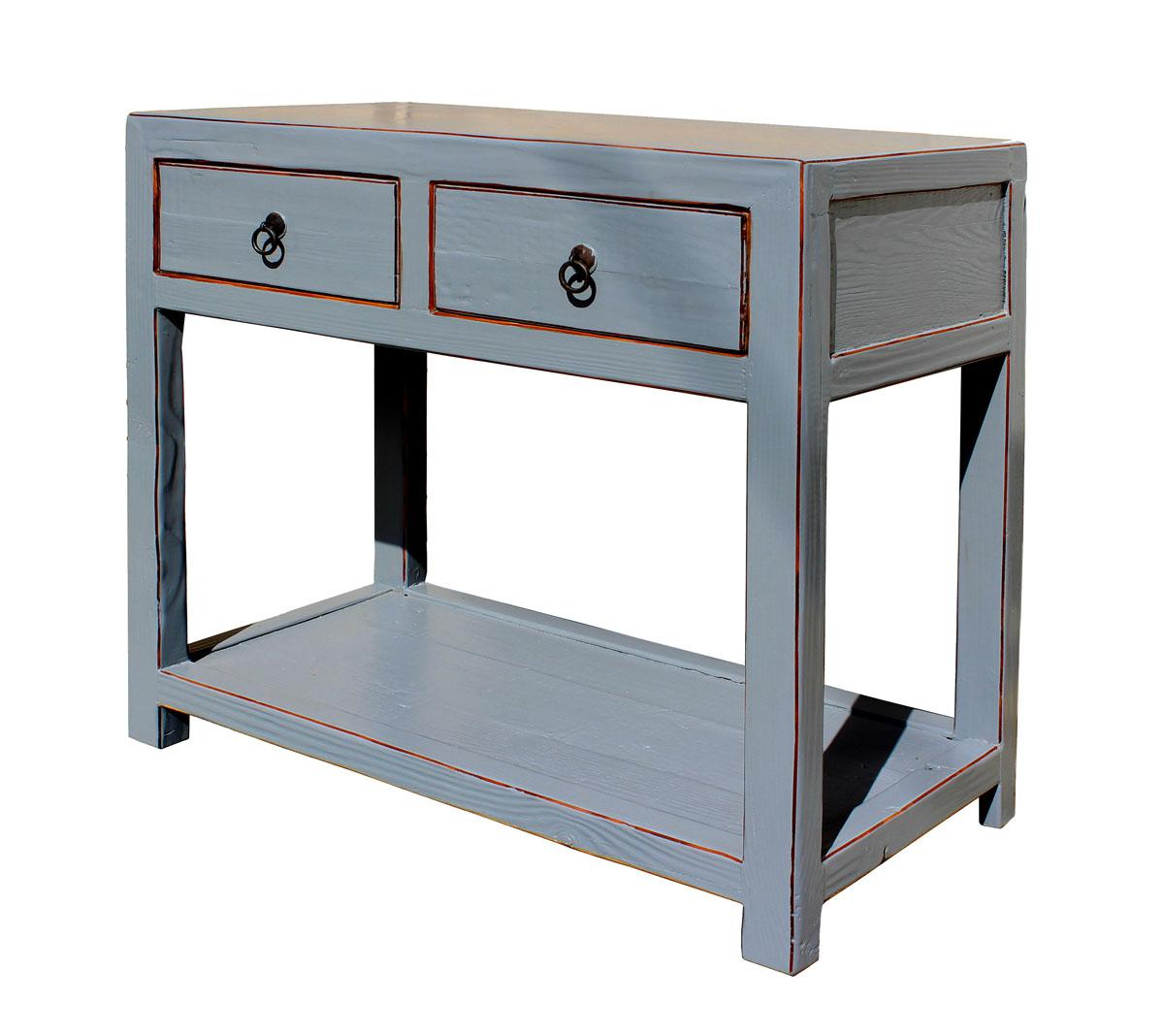Chinese Gray Raw Wood Console Table   Image 2 Of 6