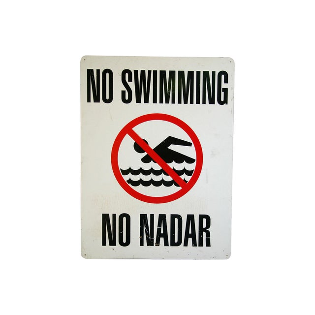Image of Vintage No Swimming Sign