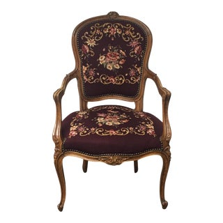 Vintage French Needlepoint Upholstery Side Chair