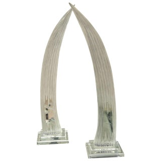 Attractive Pair of Mid-Century Lucite Horn Sculptures by Van Teal