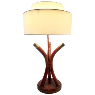 Mid-Century Campaign Style Rattan and Brass Leather Wrap Lamp by Ficks Reed