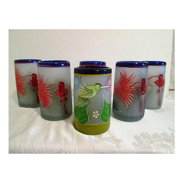 Image of Mexican Frosted Hummingbird Glasses - S/6