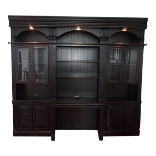 Transitional Office Desk With Attached Cabinets & Bookcase