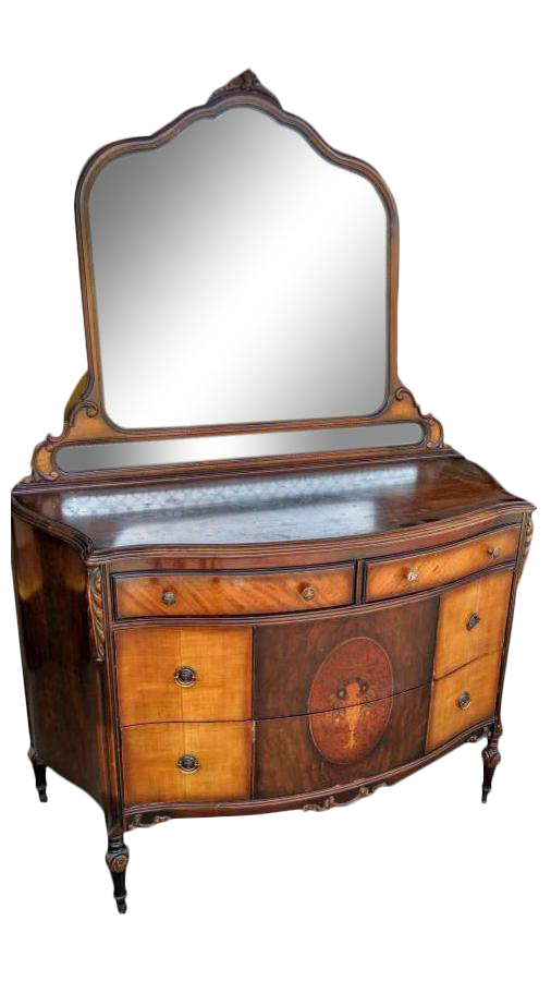 Antique Wood Dresser U0026 Vanity Set