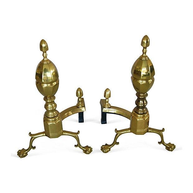 1950s French-Style Brass Andirons - Image 1 of 7