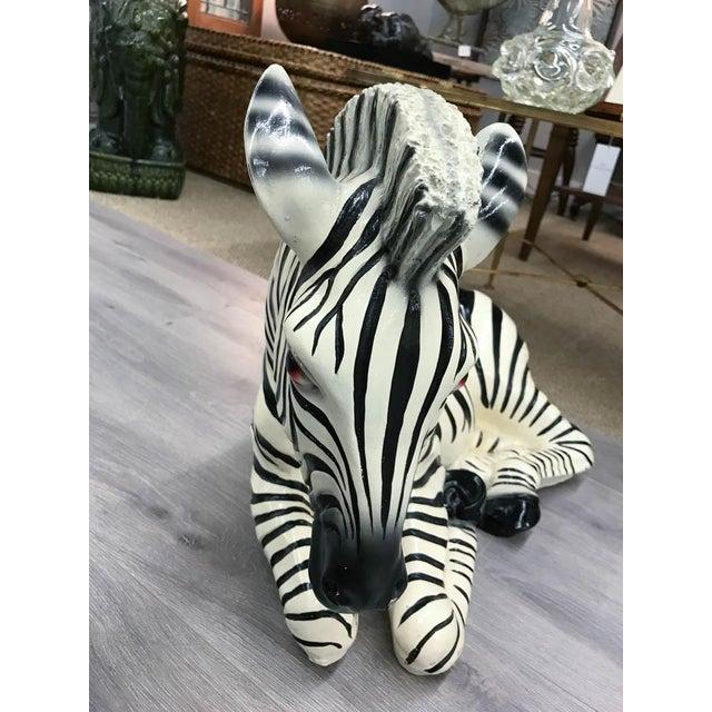 Large Mid Century Ceramic Zebra Statue - Image 4 of 9